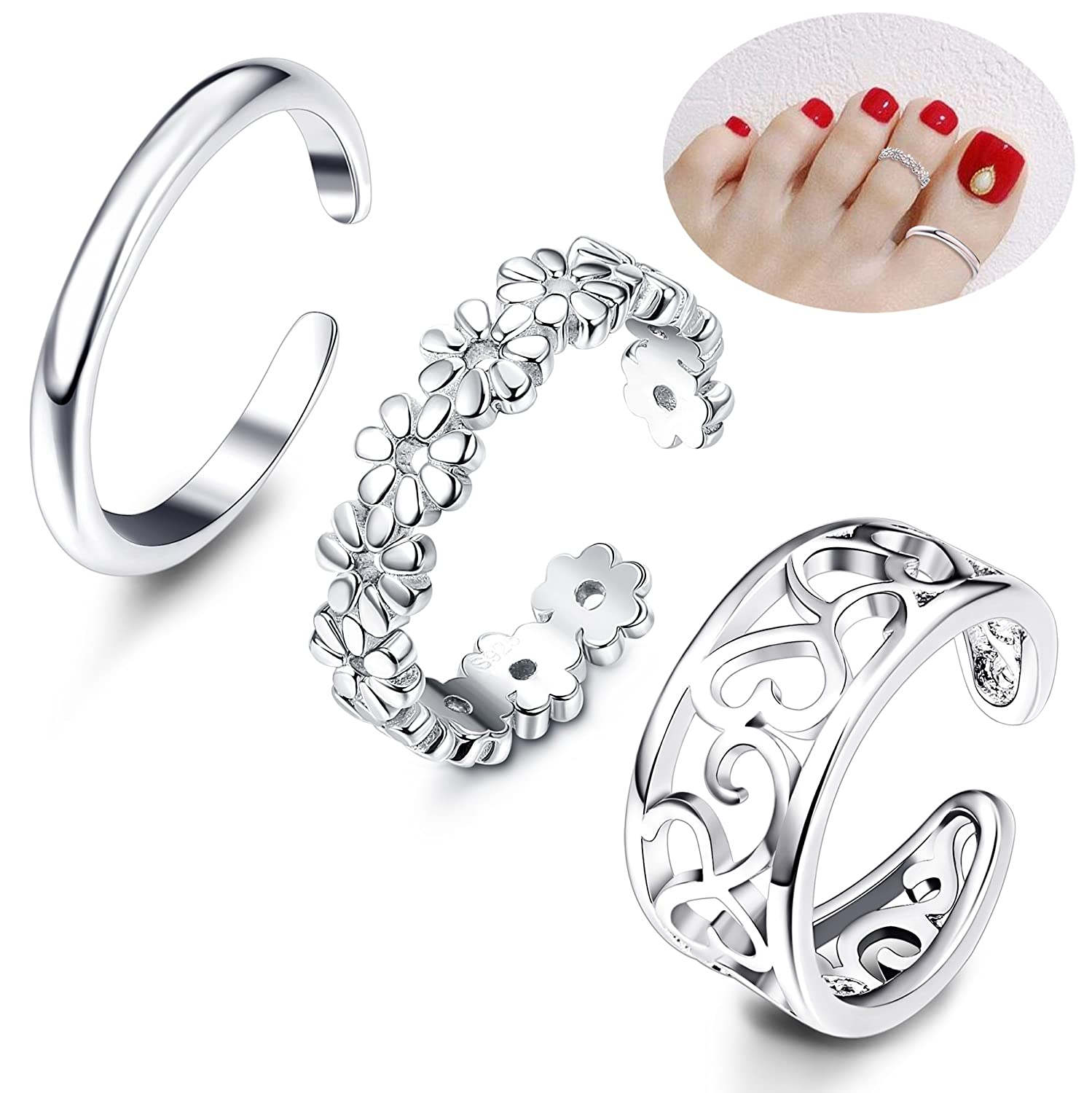 Besteel 3Pcs Toe Rings Women Girls Adjustable Open Toe Ring Gifts Jewelry Set J2L-WTR-3