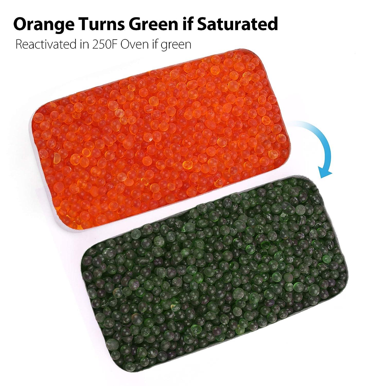 Seguro LotFancy Gel de S/ílice Desecante de Bote Sin Cloruro de Cobalto II Cambio de Color Perlas de Naranja Reutilizable Deshumidificador 40g x 2 Cajas No T/óxico