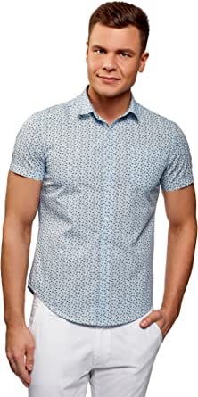 oodji Ultra Hombre Camisa Estampada Manga Corta
