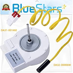 Ultra Durable DA31-00146E & DA32-00006W Refrigerator Evaporator Fan Motor Kit Replacement Part by Blue Stars – Exact Fit For Samsung Refrigerators - Replaces DA31-00146G, AP4136569, DA32-10105R