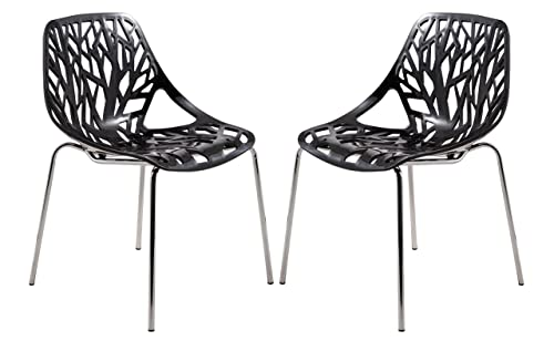 LeisureMod Modern Asbury Dining Side Chair with Chromed Legs in Black Set of 2
