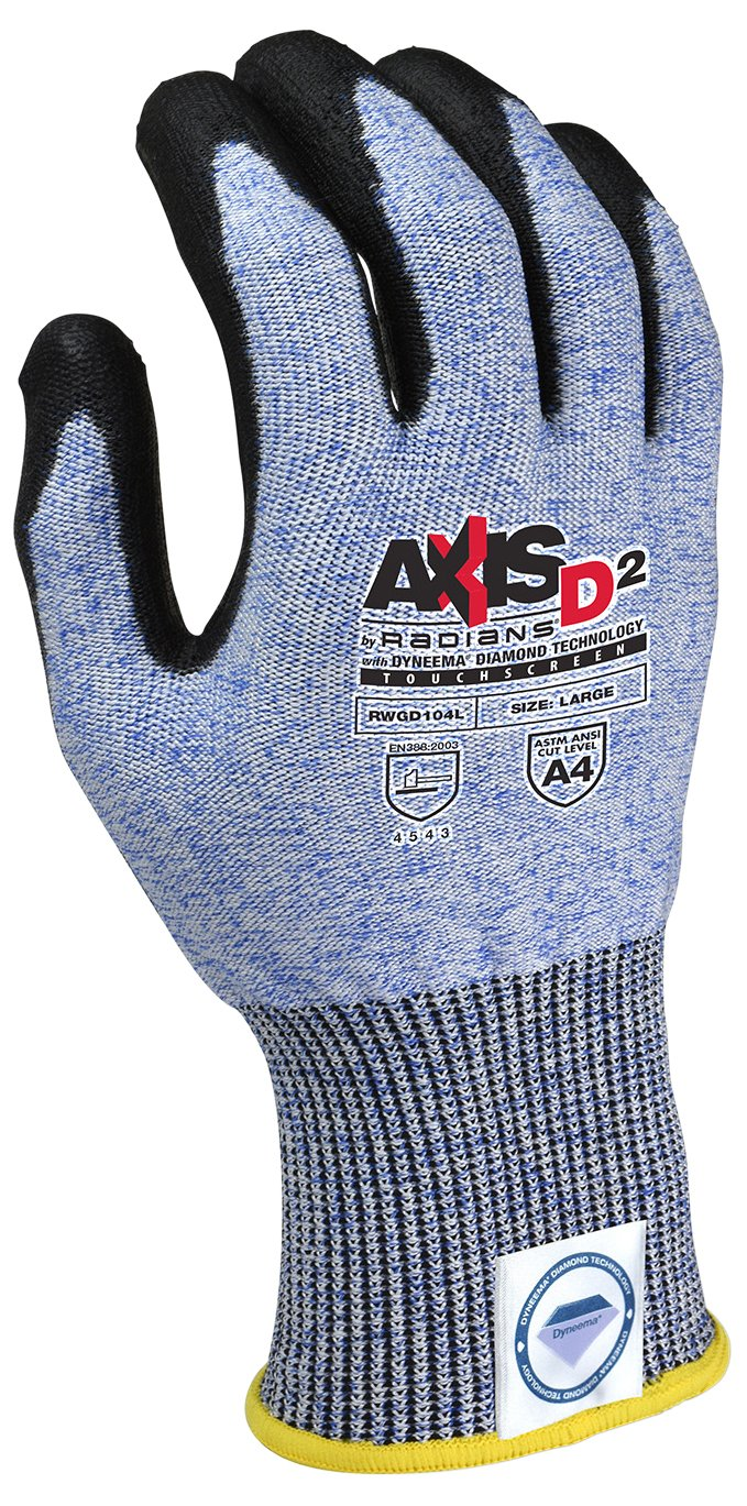 Radians RWGD104S Axis D2 Cut Protection Level A4 Touchscreen Glove(12 Pack), Small