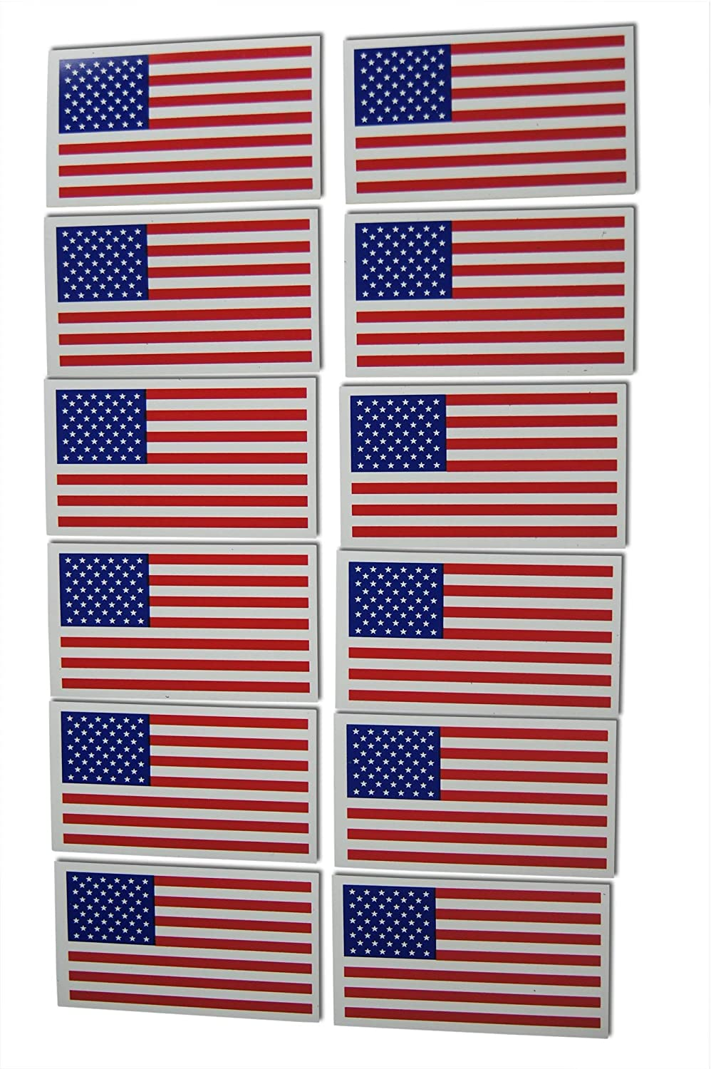 Small American Flag Patriotic Military Magnets Set includes Twelve Mini Rectangles in Classic Red, White, Blue US Design (12 Pieces)