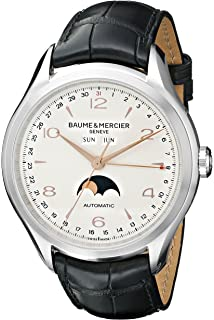 Baume & Mercier Mens BMMOA10055 Clifton Stainless Steel Watch with Black Band