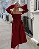 The Drop Women's Bordeaux Off Shoulder Tiered Puff Sleeve Midi Dress by @leoniehanne