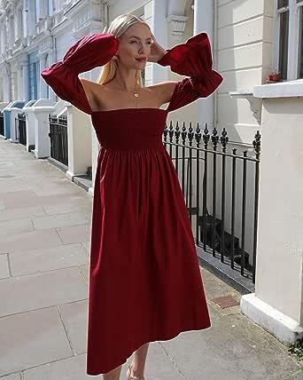 The Drop Vestido midi suelto color burdeos con mangas abullonadas y hombros descubiertos para mujer por @leoniehanne