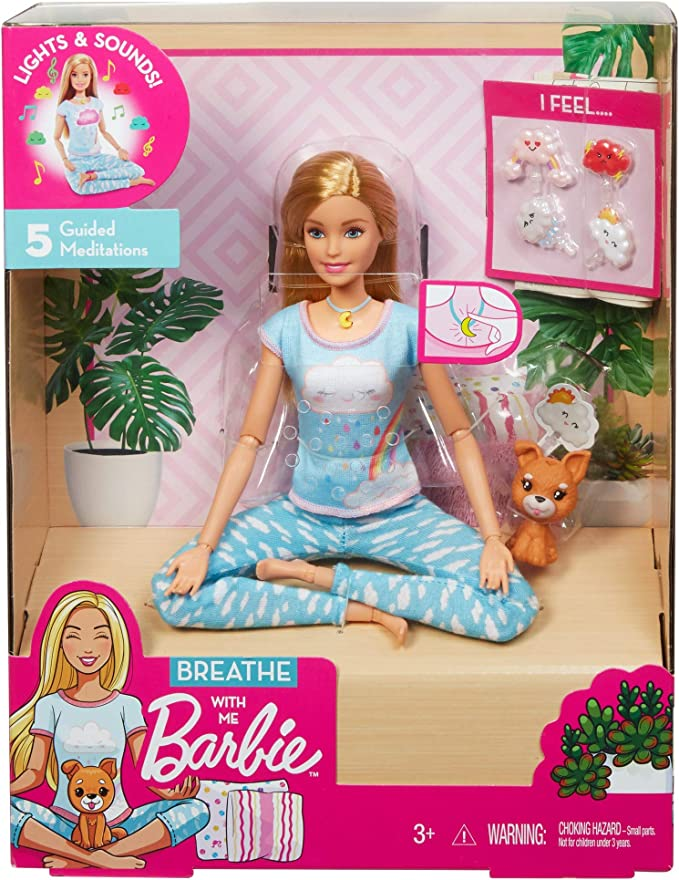 with 5 Lights /& Guided Med... Brunette Barbie Breathe with Me Meditation Doll
