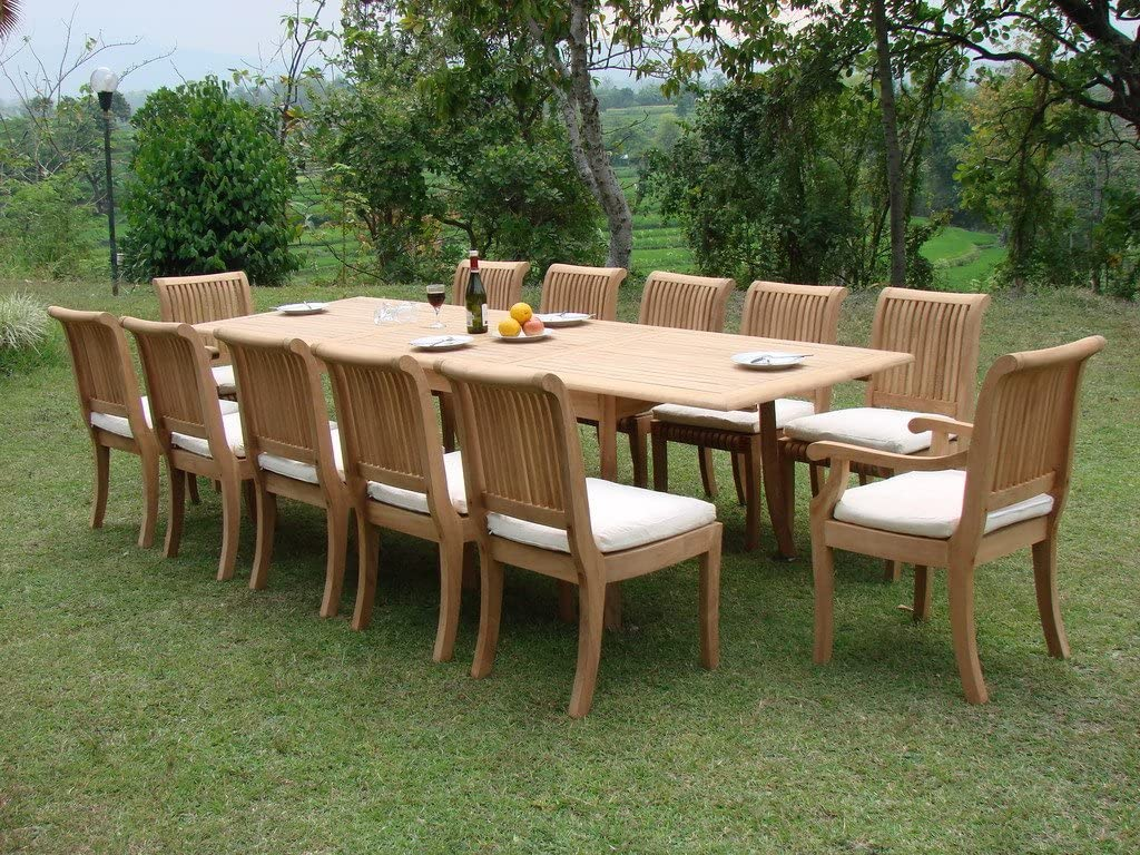 New 13 Pc Luxurious Grade-A Teak Dining Set – 117 Double Extension Rectangle Table 12 Giva Chairs 10 Armless and 2 Arm Captain