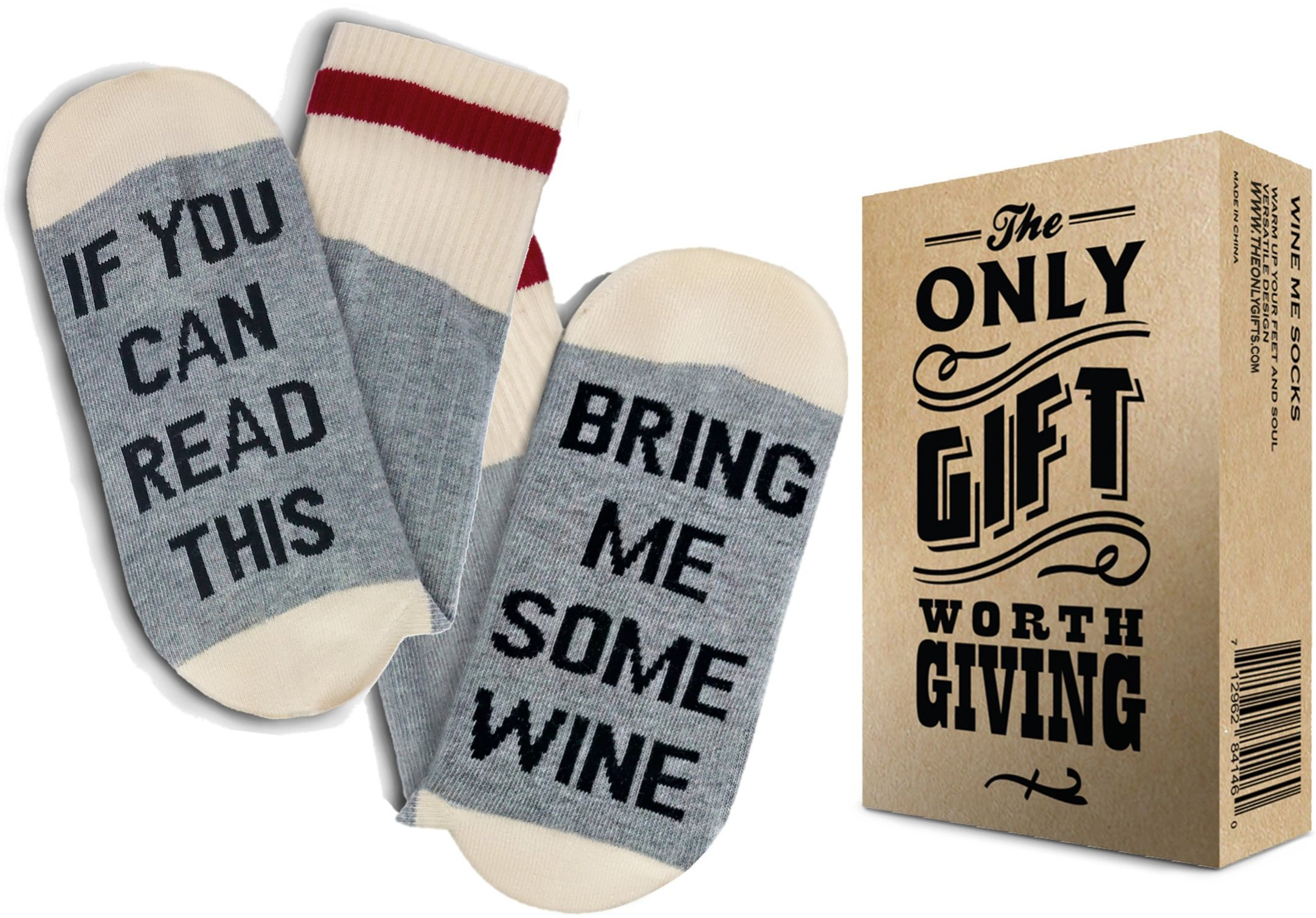 TheOnly Wine Gift Wine Socks - and Gift Box''If you can read this bring me some wine'' Perfect Christmas Gift for Wine Lovers, Birthdays, White Elephant, Mother Gift, Wife or Best Friend Wine Socks