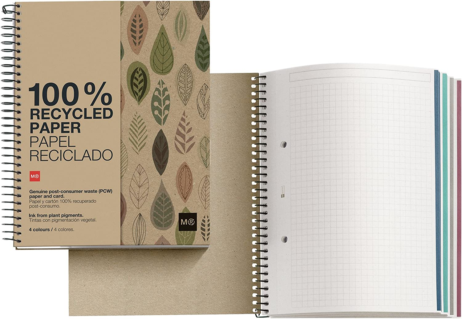 Miquelrius Notebook Filler Paper 4-subject Grid//graph Pages, 8.5 X 11 100 Sheets//200 Pages