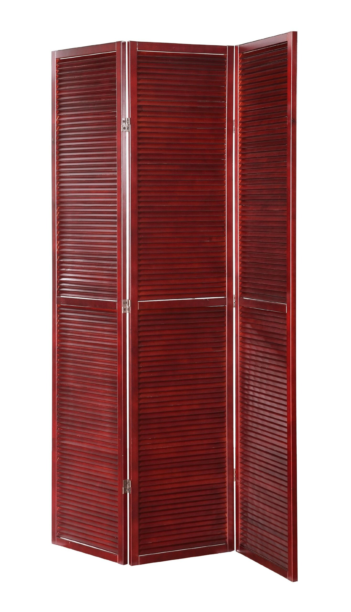Legacy Decor 3 Panel Solid Wood Shutter Accordion Screen Room Divider in a Cherry Finish