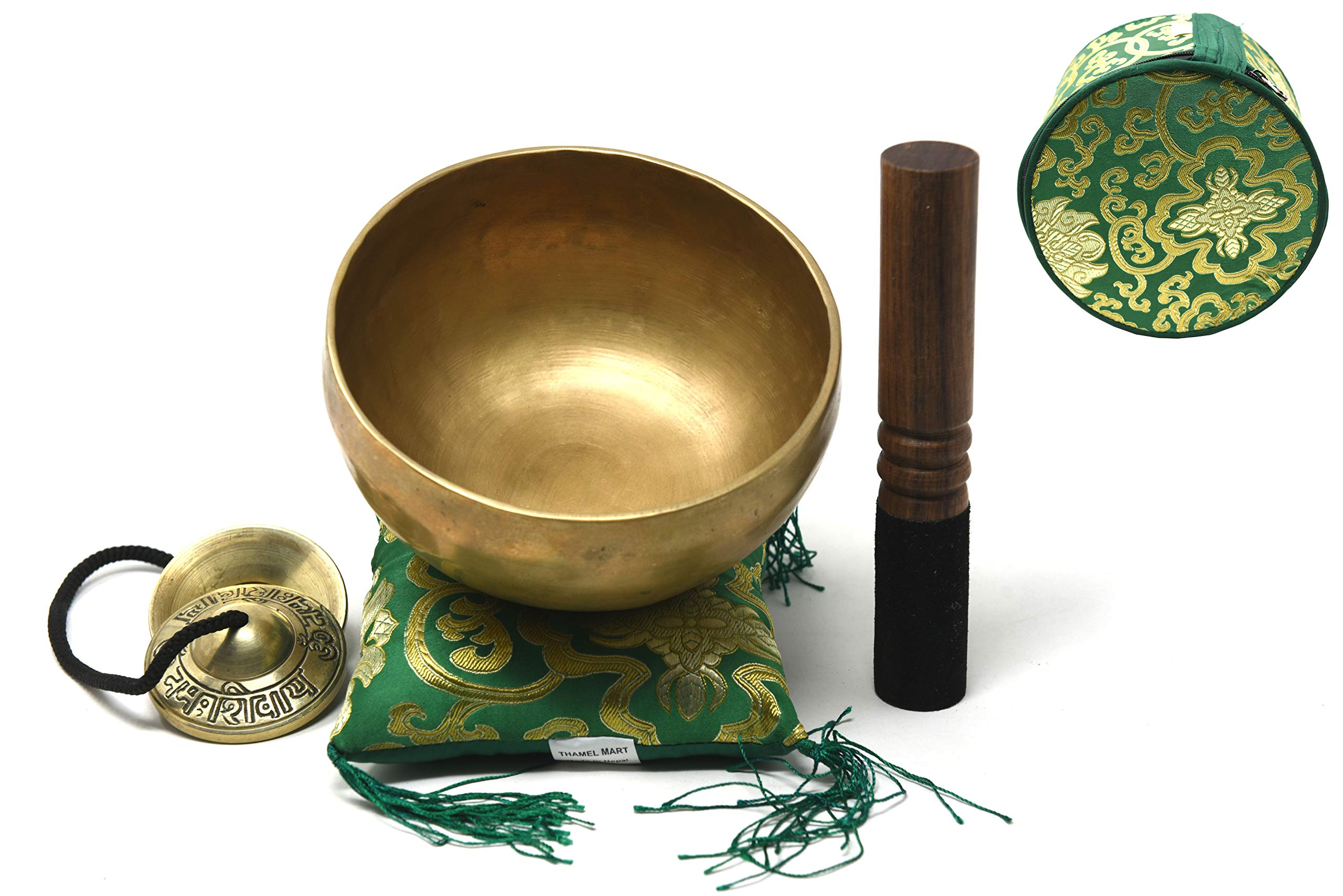 6'' Superb Crown Chakra Tibetan Singing Bowl for Meditation, Sound Healing, Yoga & Sound Therapy. Made of 7 metals. Cushion Suede leather Wooden Mallet, Box & Tingsha nincluded ~Nepal by Thamelmart.