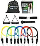 Resistance Bands - Includes Carry Case - Premium Quality - For Weights Exercise Fitness Workout - Anti Snap Heavy Resistant Tension Tube Band Set with Door Anchor Attachment and Legs Ankle Straps