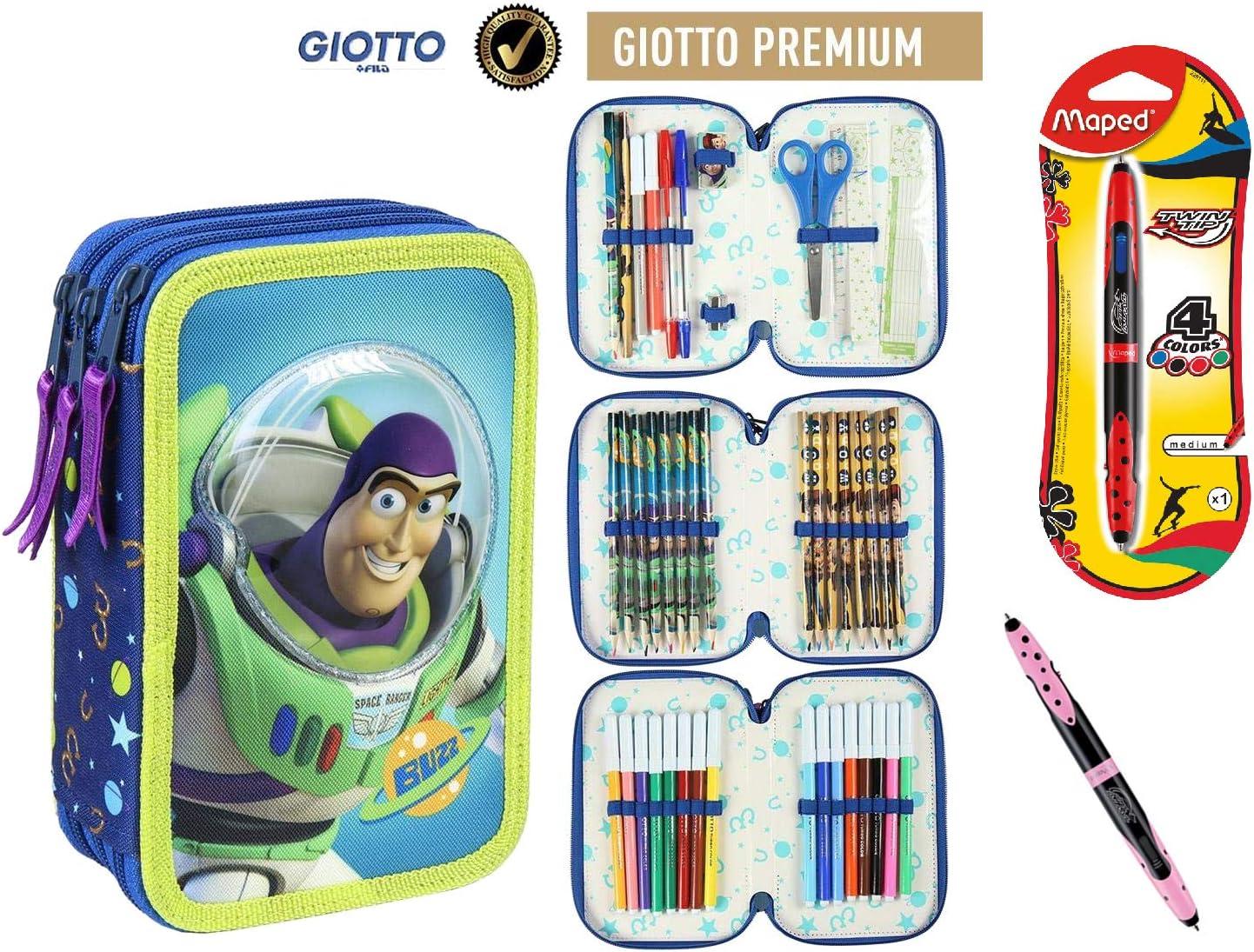 Cerdà Plumier Estuche Artesanía Premium de Cremallera Triple 3 Pisos Toy Story - Buzz - 43 Piezas Contenido Giotto + Regalo: Amazon.es: Juguetes y juegos