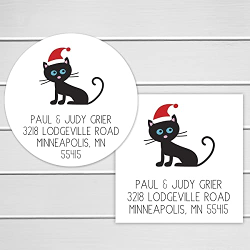 amazon com christmas address stickers santa hat cat return address