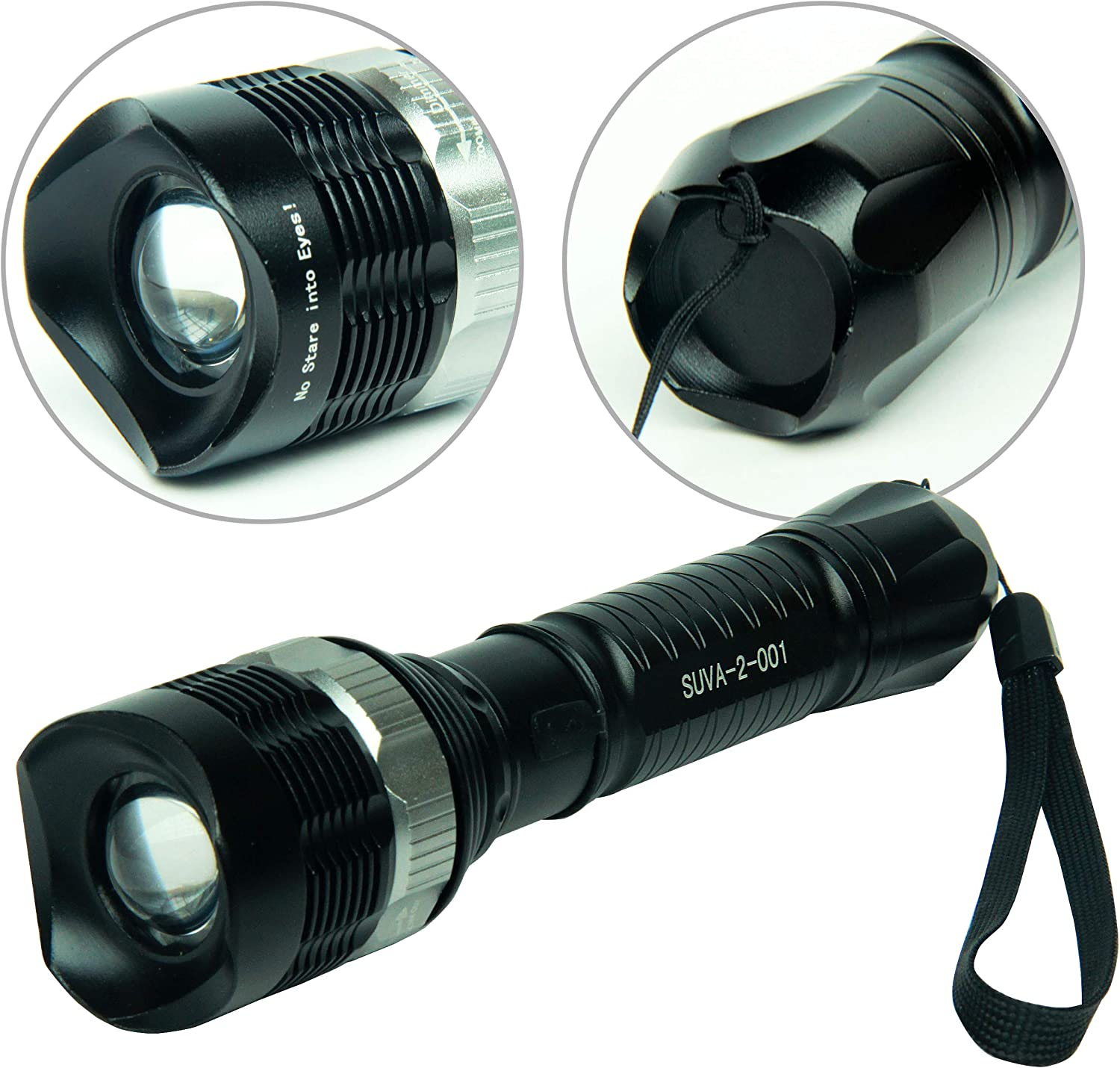 High Power Zoomable LED Torch Light with 30-feet Flood Effect Pro Zoomable Global Care Market Black Light UV Flashlight