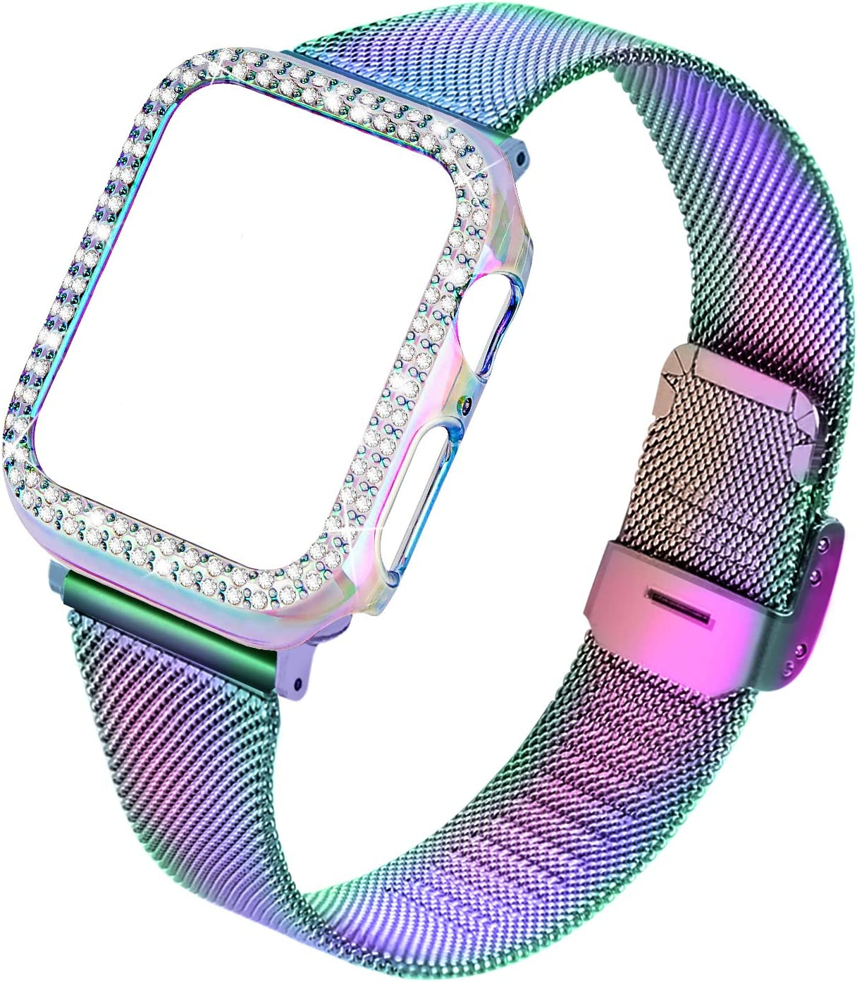 Joyozy Stainless Steel Mesh bands Compatible For Apple Watch 40mm,Women Bling Protective Crystal Diamond Case with Loop Mesh Strap For Iwatch Series 6/SE/5/4(No Tool Needed) (Colorful+Case, 40MM)