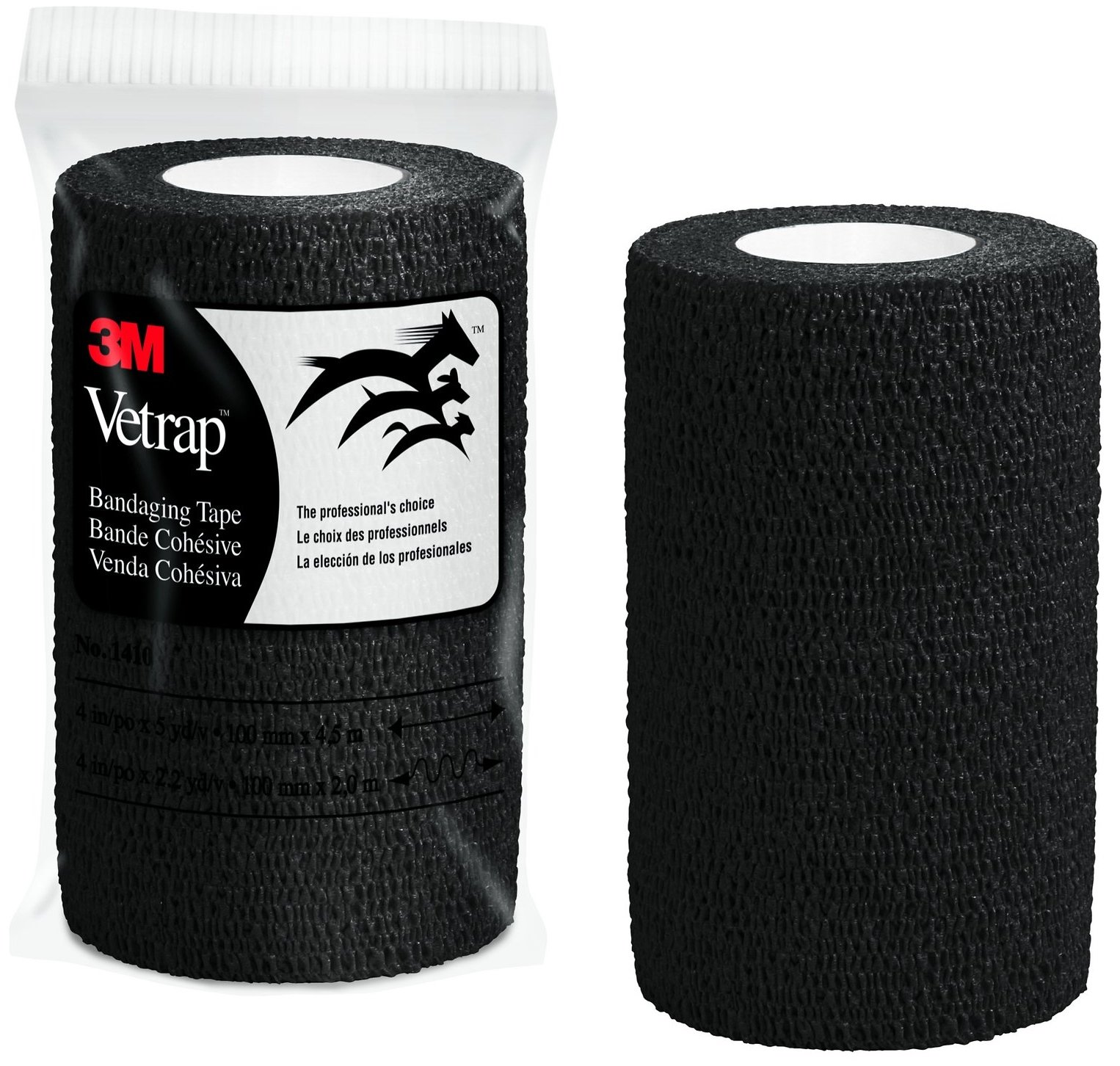 3M Vetrap 4'' Bold Color Bandaging Tape, 4''x 5 Yards, Pillow Box, 6 Rolls (Black) by 3M Vetrap