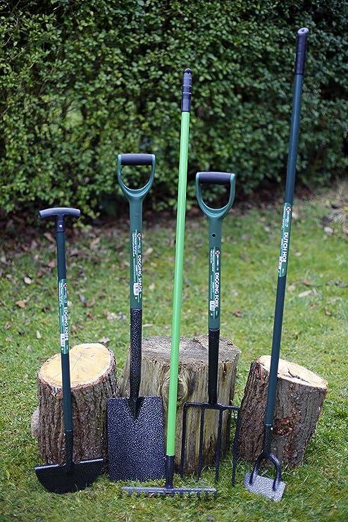 Marksman - Set de 5 herramientas de jardín (pala, horca, rastrillo, asada y pala bordeadora): Amazon.es: Jardín