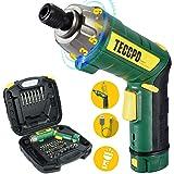 Cordless Screwdriver, 45Pcs 6Nm TECCPO Electric Screwdriver, 4V 2000mAh Li-ion, 9+1 Torque Gears, Adjustable 2 Position, USB
