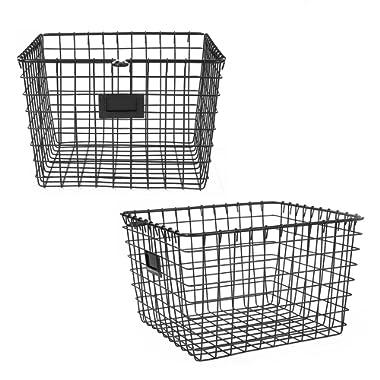 Spectrum Diversified Wire Storage Basket, Medium, Industrial Gray, 2-Pack