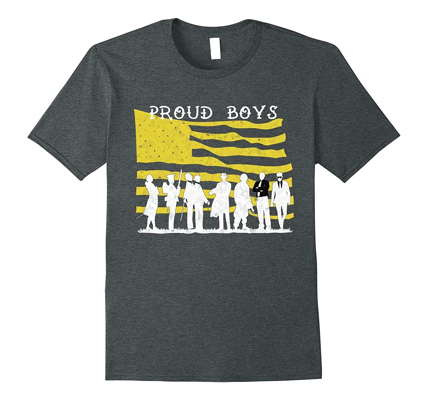 Proud Boys Patriotic American Flag Distressed T-Shirt-4LVS