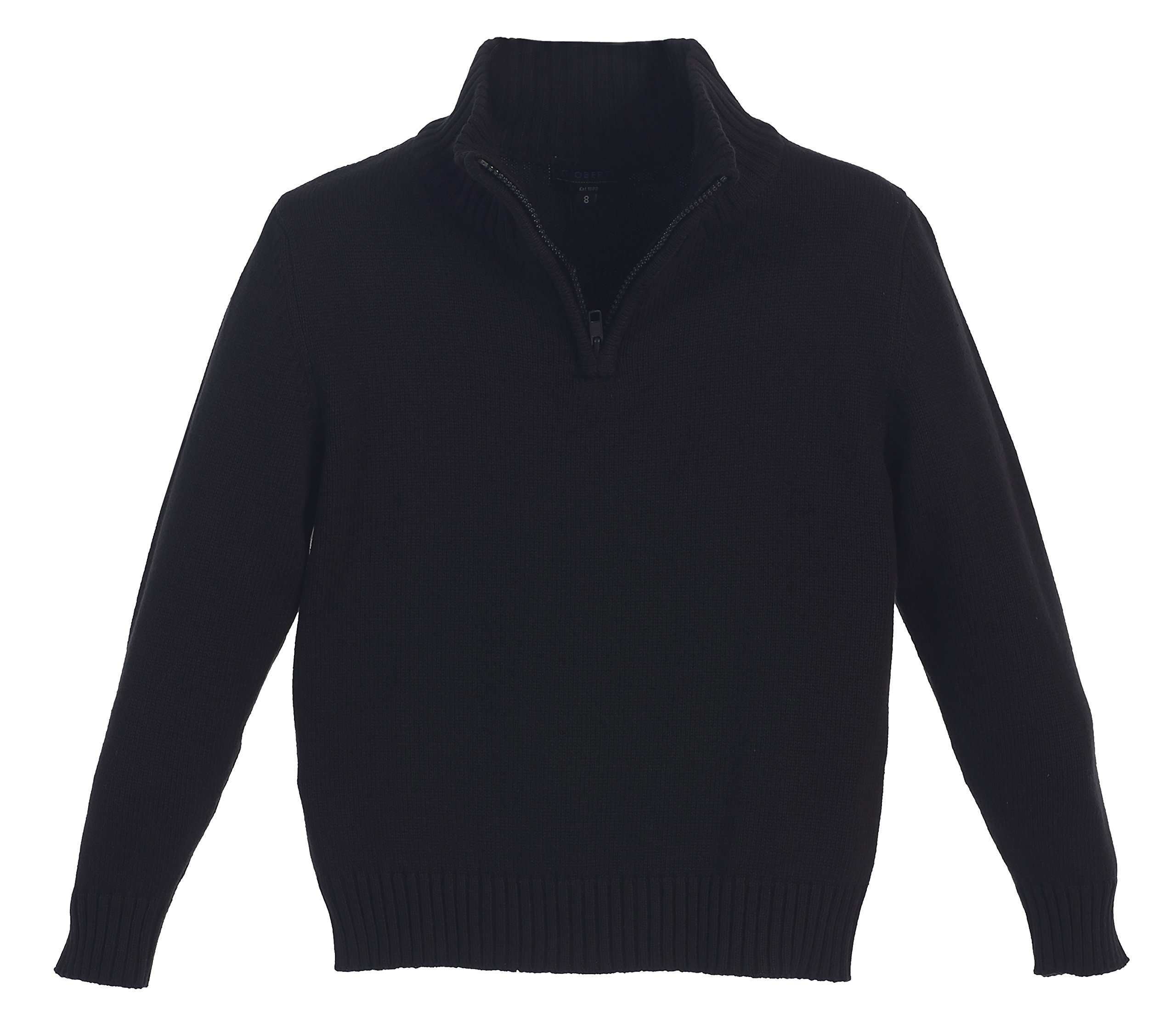 Gioberti Boy's Knitted Half Zip 100% Cotton Sweater, Black, Size 14
