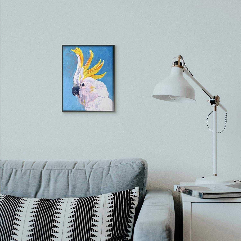 Design by Artist Jennifer Paxton Parker 11 x 14 Stupell Industries Parrot Mohawk Blue Yellow Animal Bird Painting Black Framed Wall Art