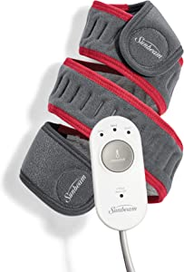 """Sunbeam Flexfit Heating Pad Wrap for Pain Relief Customized Heating Pad for Multiple Areas of The Body 3 Heat Settings with 2 Hour Auto-Off 42 X 2.5"""", Grey/Red"""
