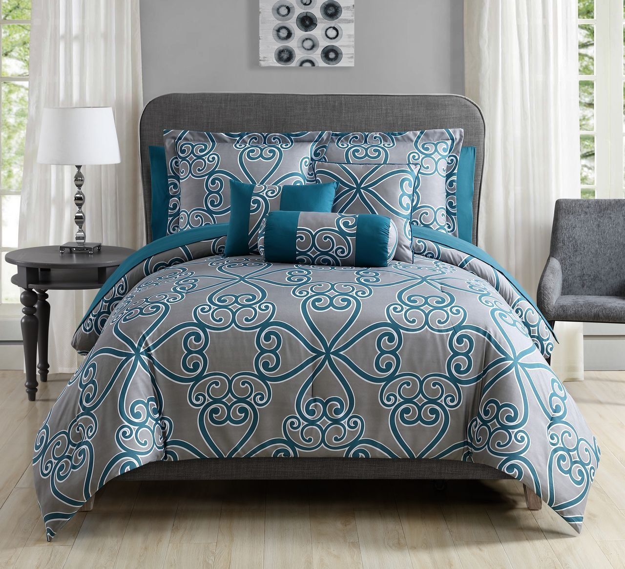 10 Piece Shina Teal/Gray Comforter Set Cal King