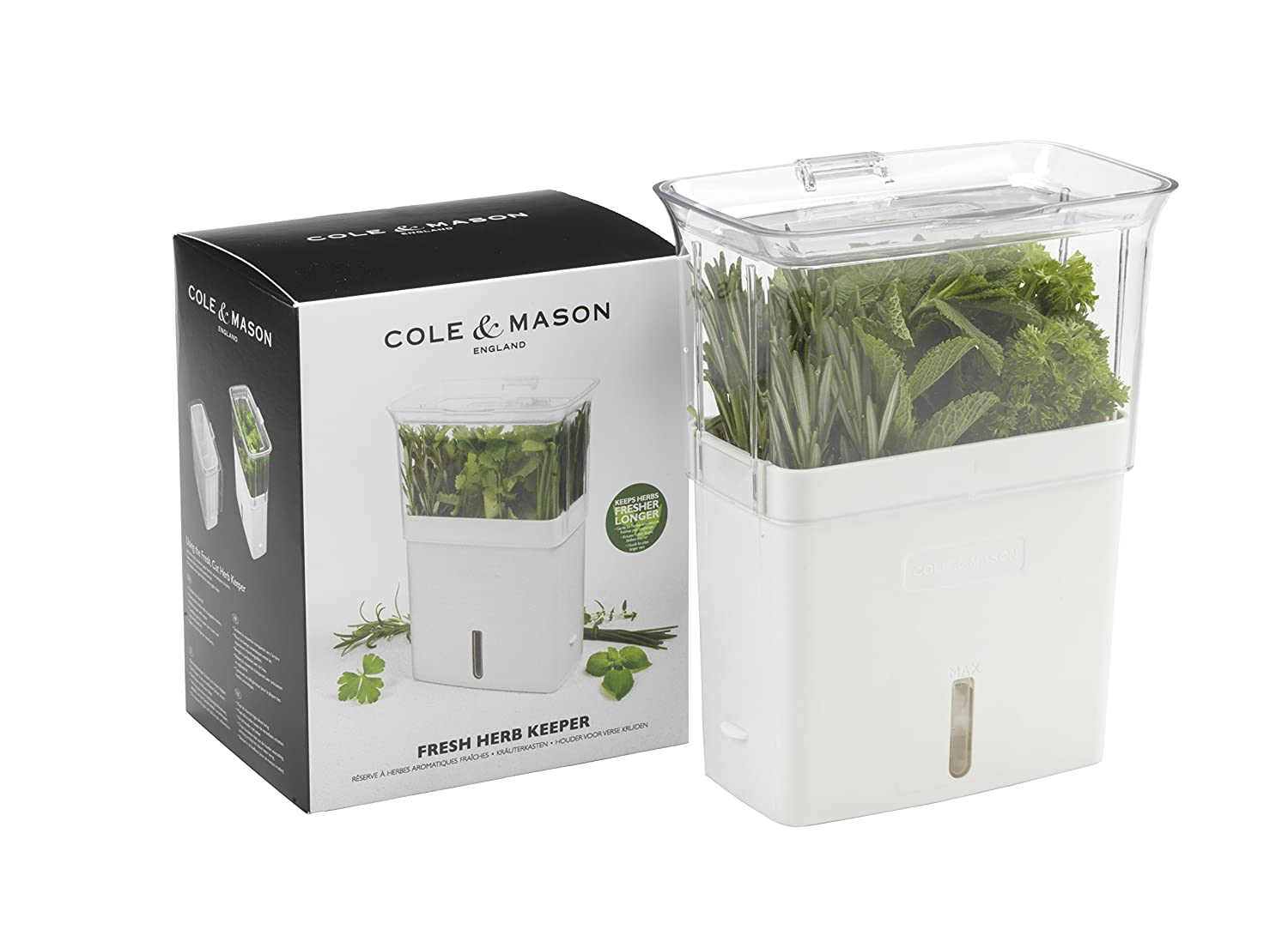 Cole & Mason Fresh Herb Range Cut Herb Keeper, White and Grey, 12 x 16 x 20 cm DKB HOUSEHOLD DISTRIBUTION AG H105159