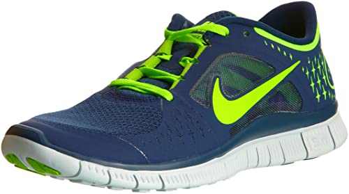 newest 47a9d 16250 Image Unavailable. Image not available for. Colour  Nike Free Run 3 Navy  Electric Green Barefoot Mens Running Shoes ...