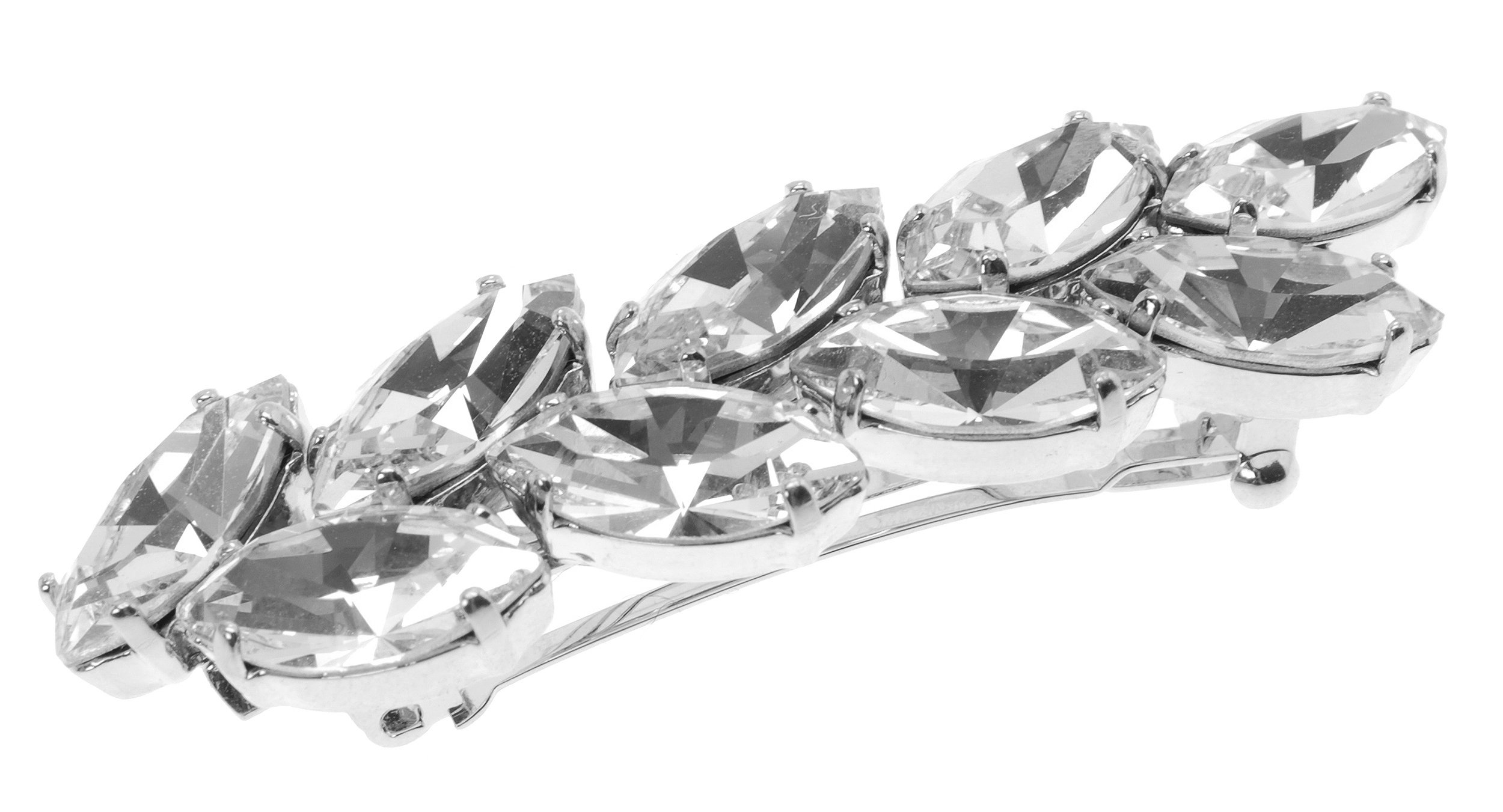 L. Erickson Small Ivy Crystal Barrette - Crystal/Silver