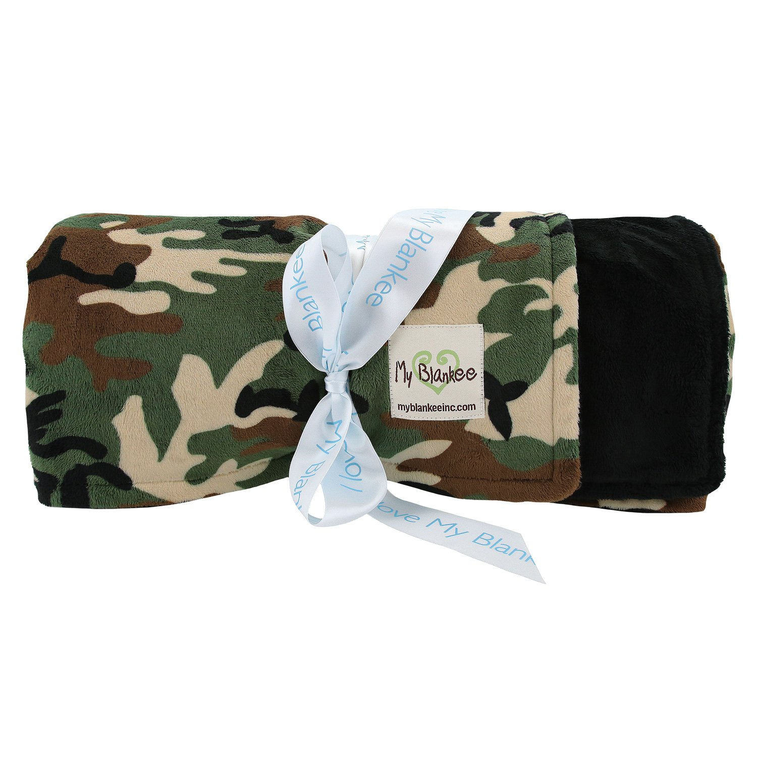 My Blankee Green Camouflage with Minky Solid Back Throw Blanket, Black, 52'' x 60''