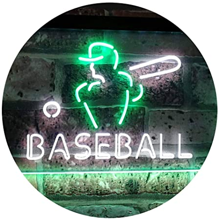 AdvpPro 2C Baseball Sport Man Cave Bar Dual Color LED Neon Sign White & Green 300mm x 210mm st6s32-i2892-wg