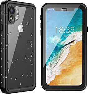 SPIDERCASE iPhone XR Waterproof Case, Upgraded Version with Clear Sound, Built-in Screen Protector Dustproof Snowproof Shockproof IP68 Waterproof Case for iPhone XR 2018 Released 6.1 inch (Black)