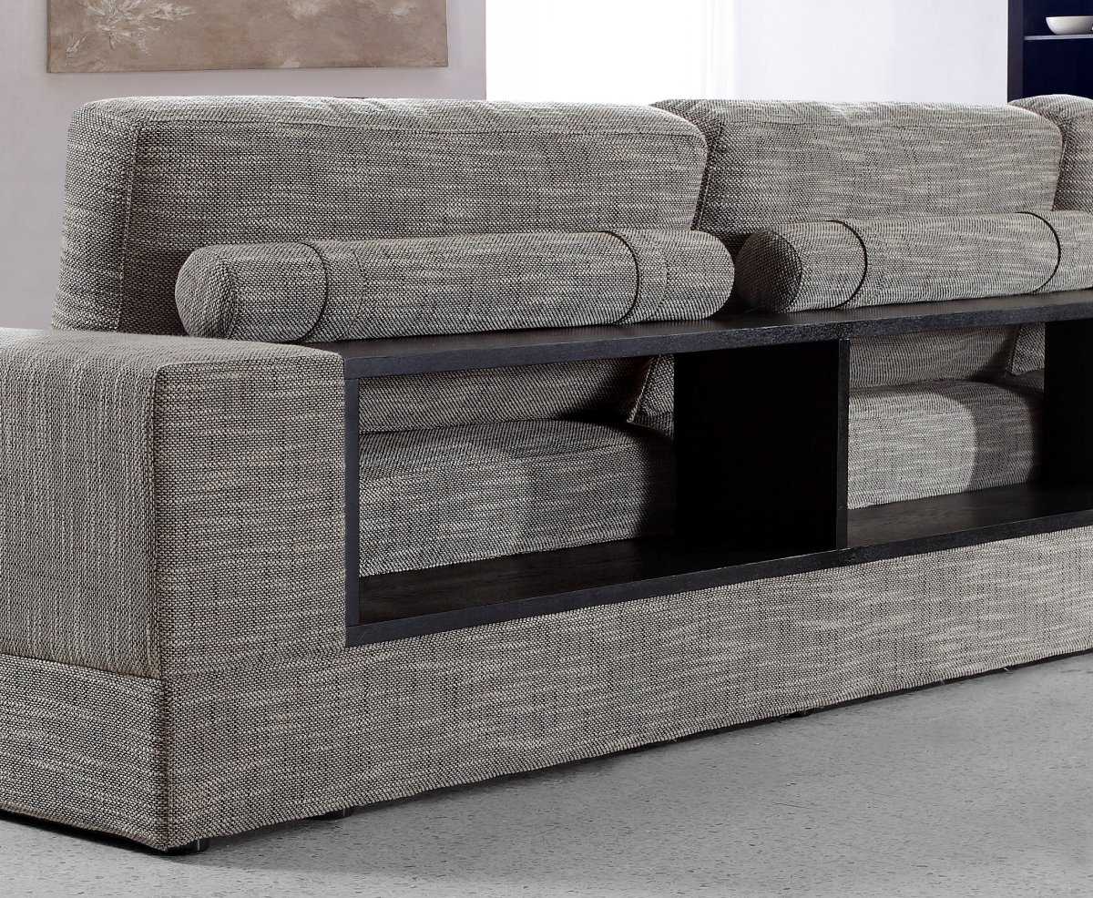 Amazon.com: Anthem - Grey Fabric Modern Sectional with Wood ...