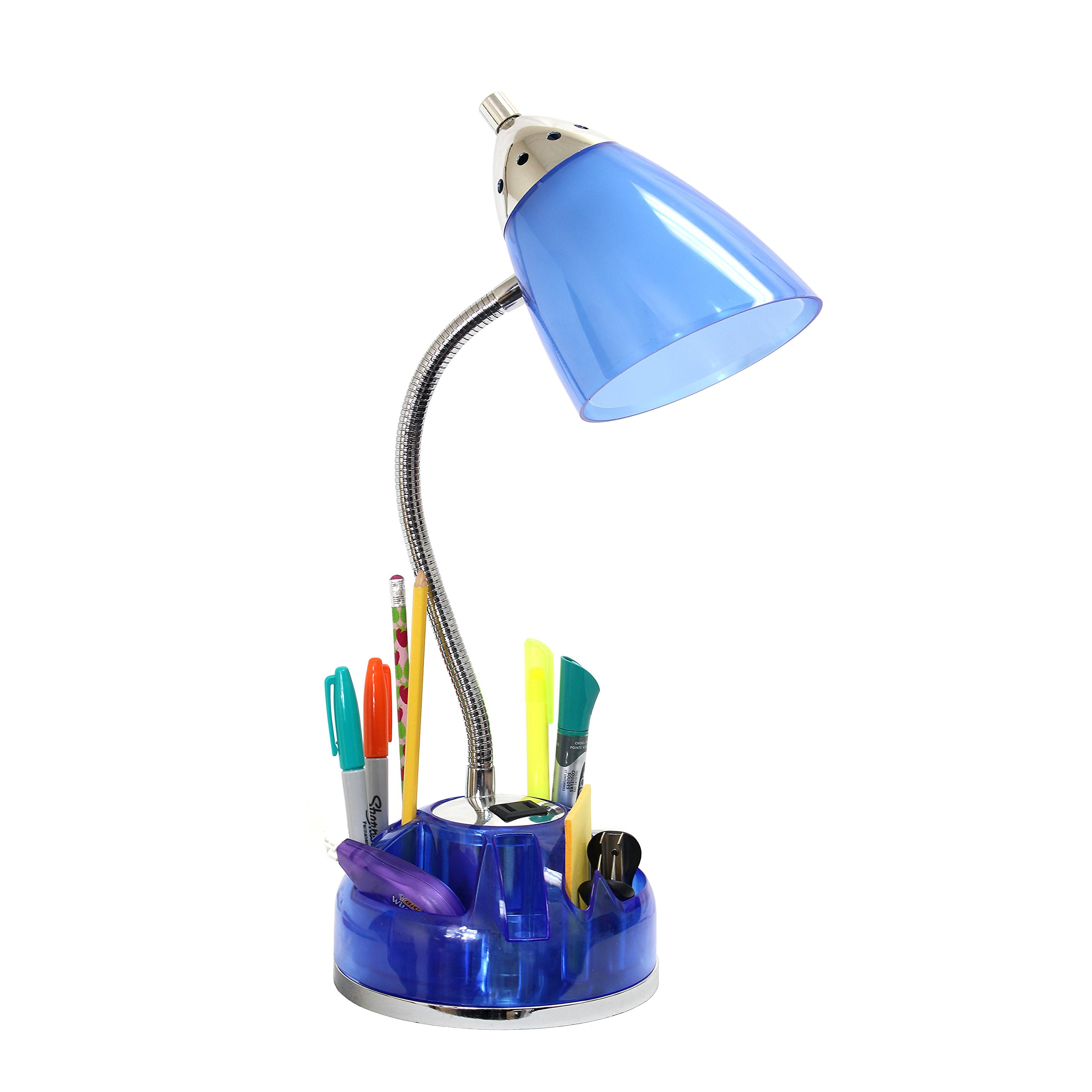 Limelights LD1015-CBL Organizer Desk Lamp with Charging Outlet Lazy Susan Base, Clear Blue by Limelights (Image #3)