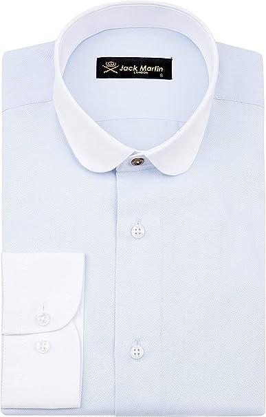 Jack Martin – Camisa de corte entallado en espiga azul con cuello Club/Penny – para hombre de los años 20, para bodas y negocios camisas