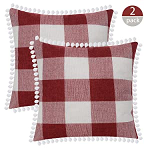 "SEEKSEE Buffalo Plaid Throw Pillow Covers Burlap Country Decoration Checkers Large Plaid Cotton Linen Decorative Pillowcase Retro Cushion Sofa Living Room 18x18 in,Set of 2 (Red, 18""×18"")"
