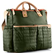 Diaper Bag- by Maman - with Matching Changing Pad - Stylish Designer Tote for Moms - for Baby Boys and Girls - PATENT PENDING (Green)