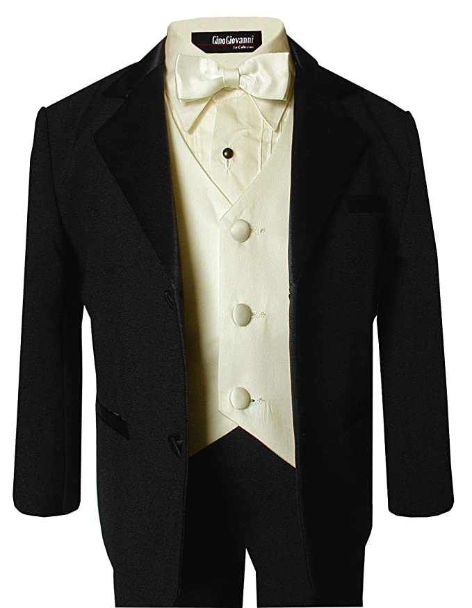 1930s Childrens Fashion: Girls, Boys, Toddler, Baby Costumes Gino Giovanni Usher Tuxedo Boy Black and Ivory From Baby to Teen $39.99 AT vintagedancer.com