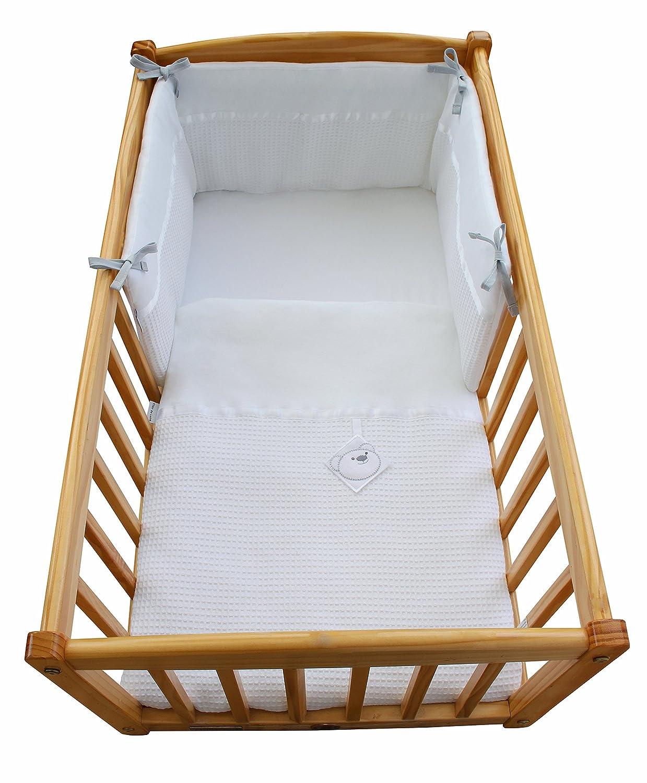 Waffel Kinderbett Wiege Quilt & Bumper Set mit Bär-Tag – Weiß