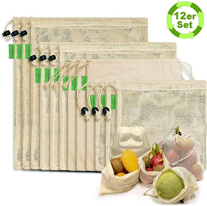 CicoYing Bolsas de Compras de Malla Reutilizables Bolsas de Productos de 12 Juegos Bolsas de Red de Compras de Cero Desechos de Algodón Orgánico Lavables Sin Plástico para Frutas Vegetales Juguetes: Amazon.es: