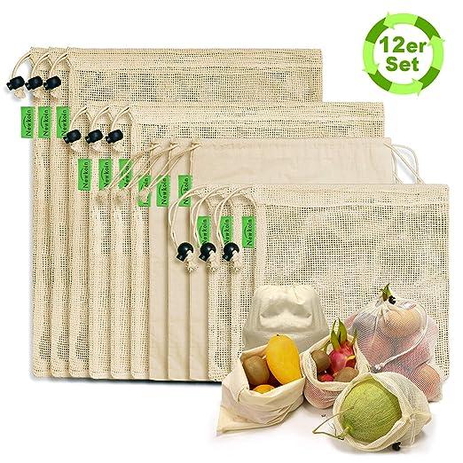 N NEWKOIN Bolsas de compra reutilizables, 12-set Bolsas de productos reutilizables Bolsas libres de plástico de algodón orgánico sin desperdicios Cero ...