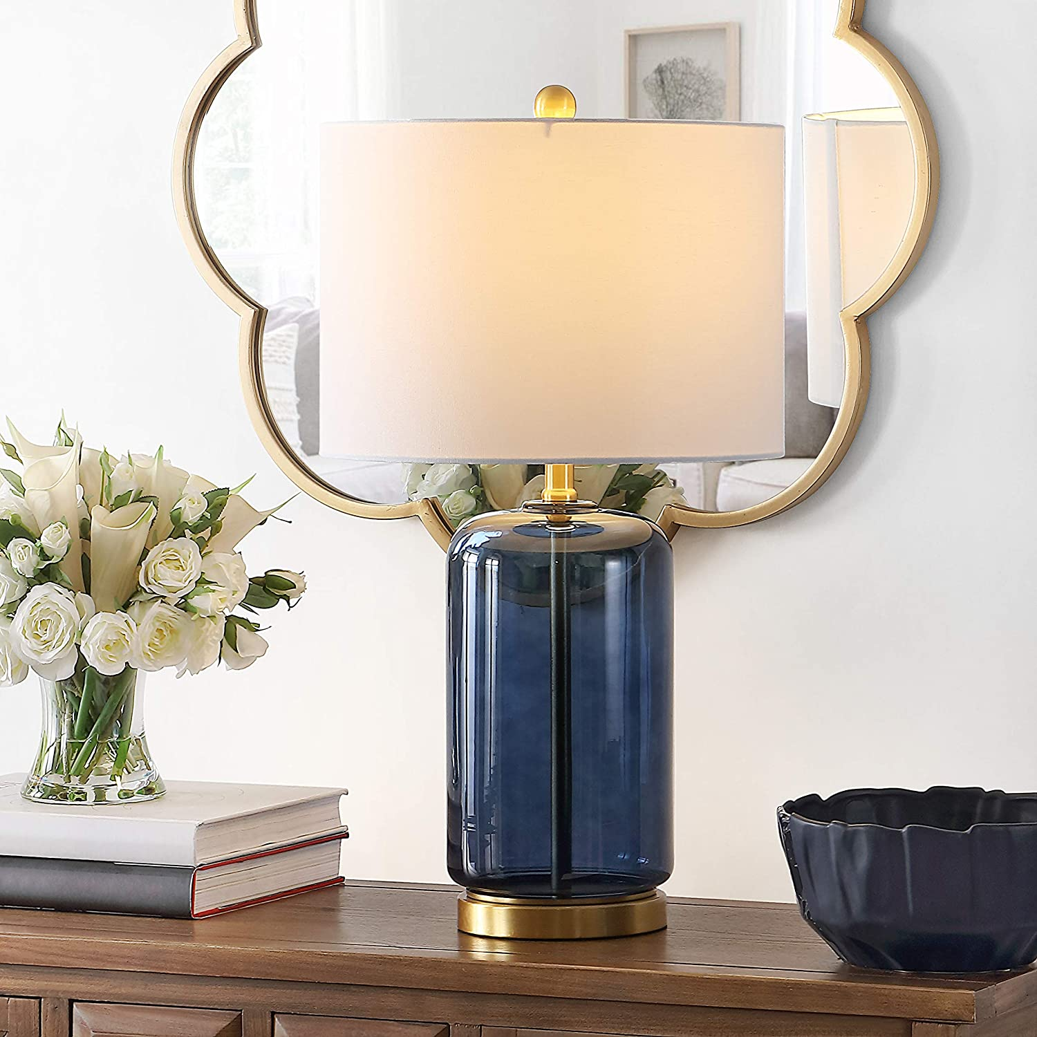 Safavieh Lighting Collection Novah 26-inch Blue Glass Table Lamp (LED Bulb Included) TBL4283B