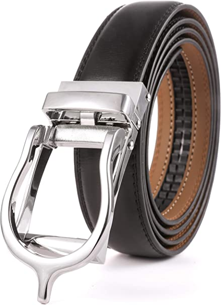 Marino Men/'s Ultra Soft Leather Ratchet Dress Belt Auto Buckle XL Up To 54 Waist