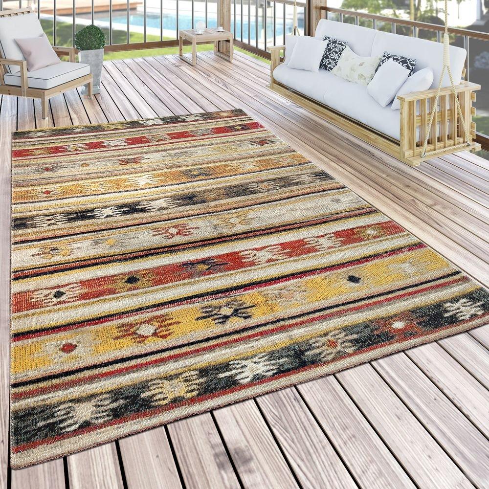 Paco Home In- & Outdoor Teppich Modern Jelle Print Terrassen Teppich Wetterfest Gelb, Grösse 200x280 cm