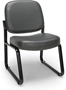 OFM Armless Reception Chair - Anti-Microbial/Anti-Bacterial Vinyl Guest Chair, Charcoal (405-VAM)