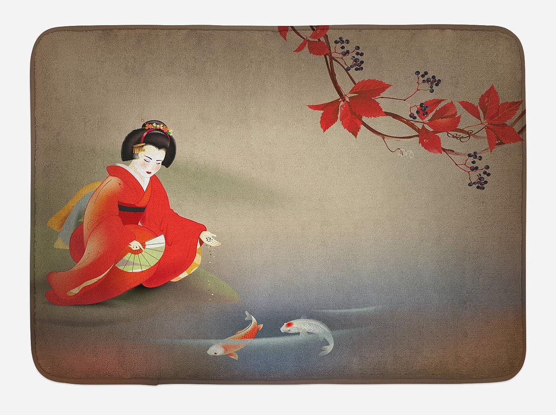Lunarable Koi Fish Bath Mat, Geisha Feeding Beast Autumn Time Culture Eastern Vibes Oriental, Plush Bathroom Decor Mat with Non Slip Backing, 29.5